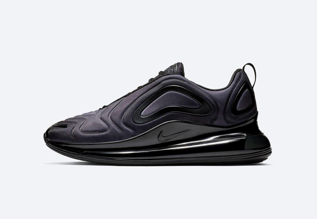Nike Air Max 720 — černé, antracitové — boty — pánské — dámské — black sneakers