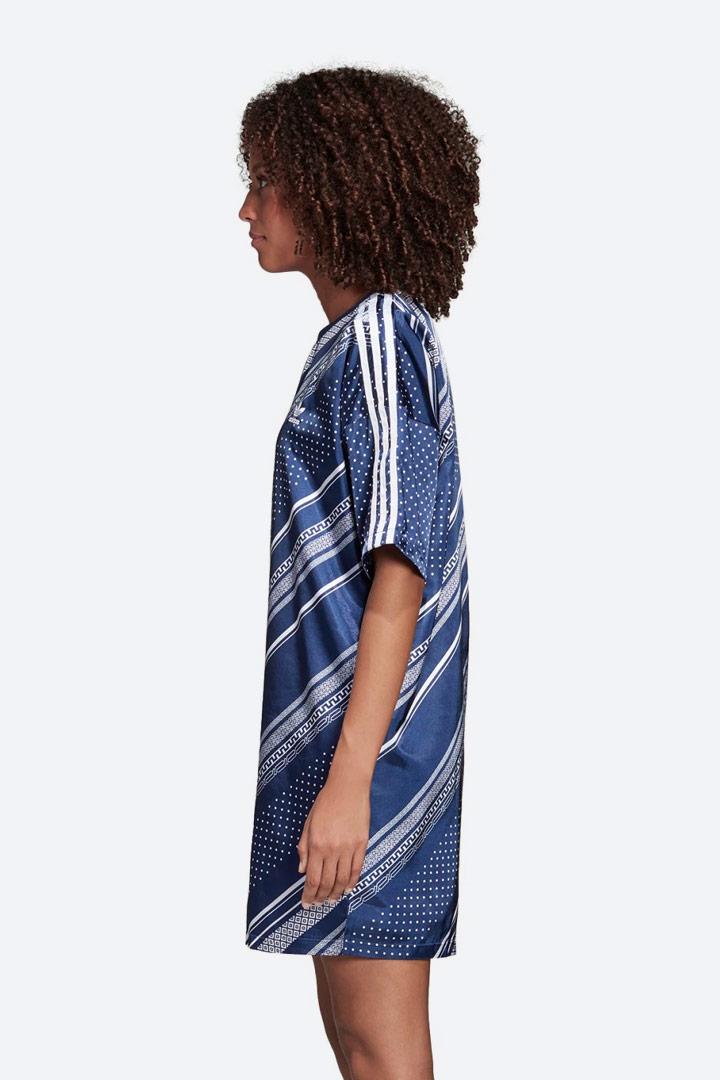 adidas Originals Trefoil — lesklé saténové šaty s geometrickými vzory — letní — dámské — sportovní — modré