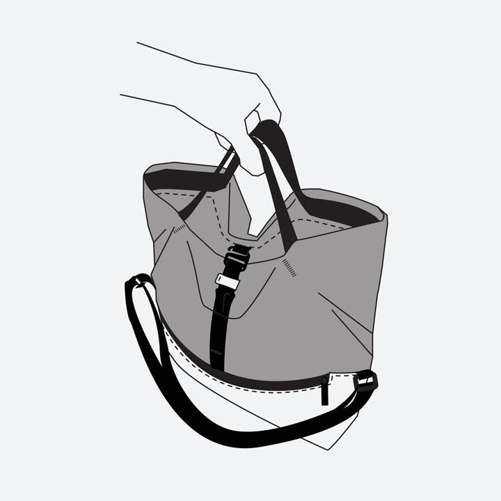 Freitag F640 ROLLIN — nákres — způsob nošení v ruce