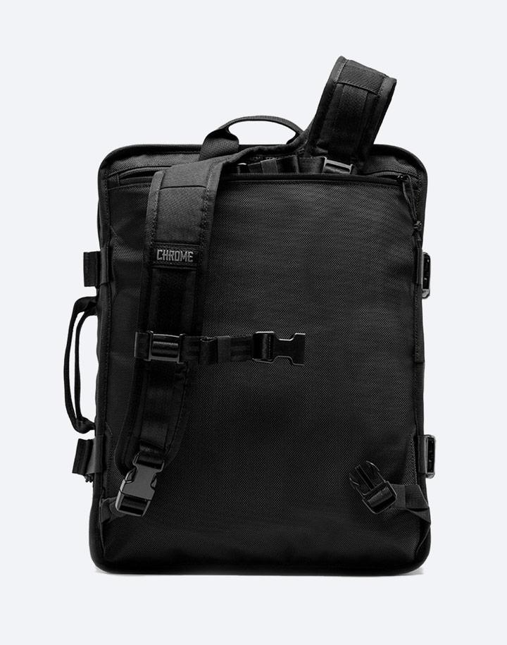 Chrome Industries — městský cyklistický batoh — Macheto Travel Pack — urban cyclist backpack — černý — zadní pohled