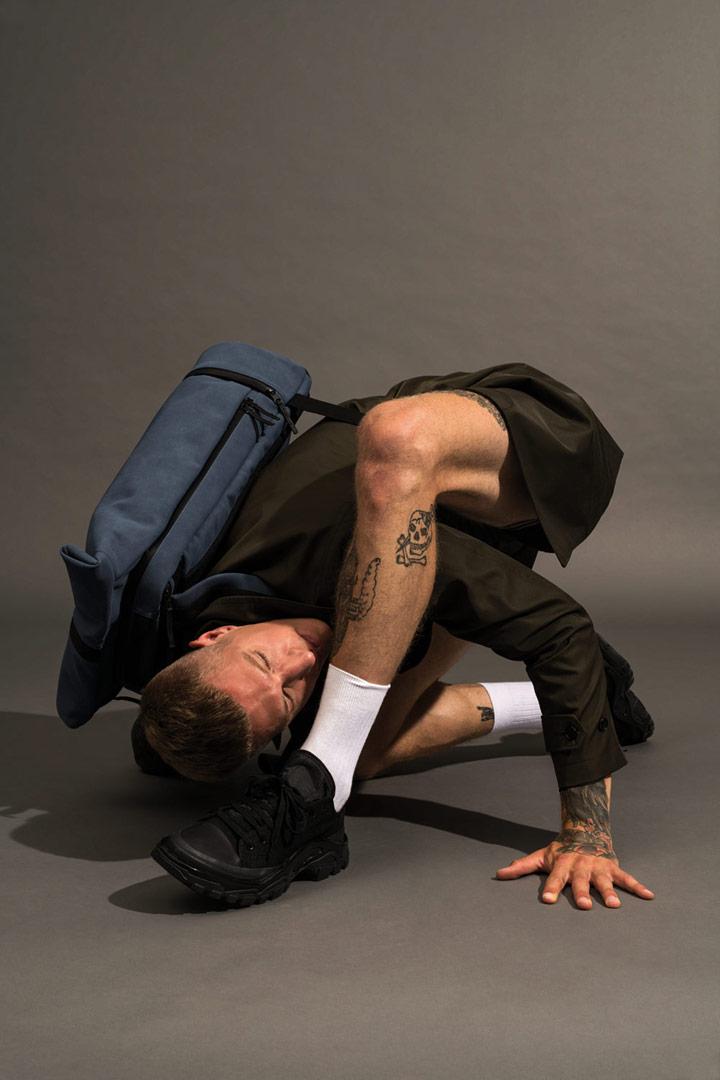 Ucon Acrobatics — modrý batoh z umělého semiše — Hajo Pro Backpack — vegan, sustainable