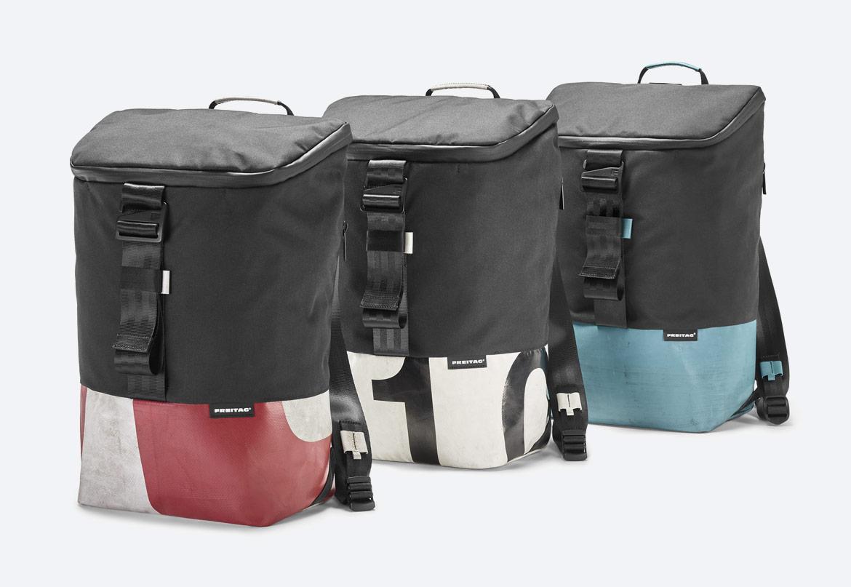 Freitag F600 Carter — batoh recyklovaný z plachty a PET lahví — sustainable recycled backpack — černé, barevné