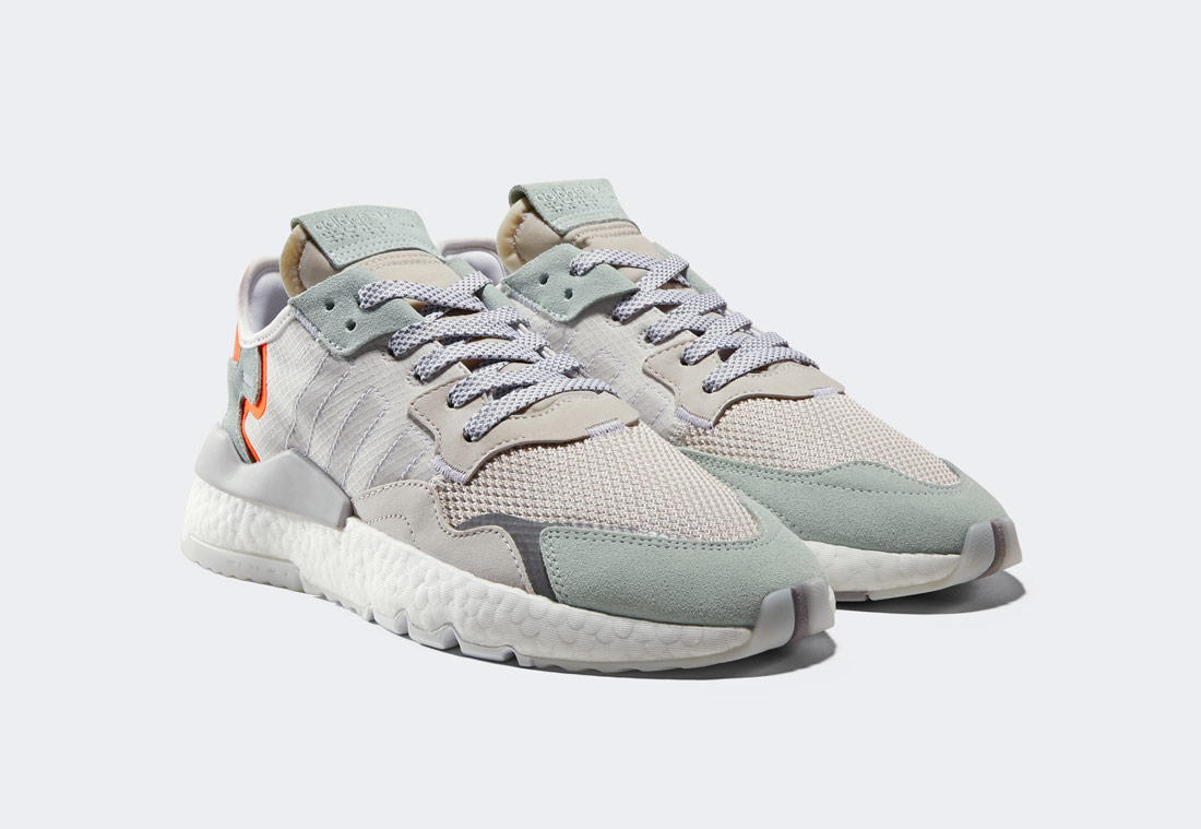adidas Originals Nite Jogger — boty — šedé, zelené, oranžové — reflexní