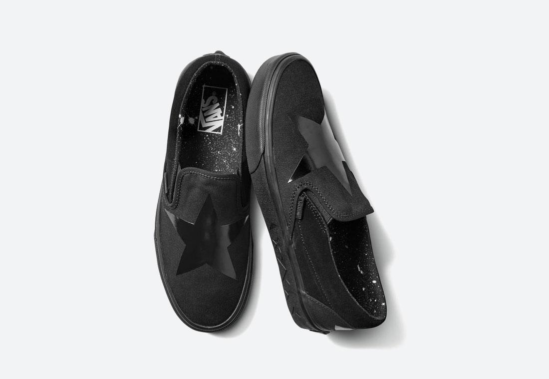 Vans x David Bowie — černé boty Vans x DB Slip-On bez tkaniček
