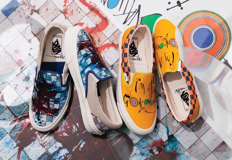 Vans x Ralph Steadman — Slip-On — letní boty s potiskem bez tkaniček