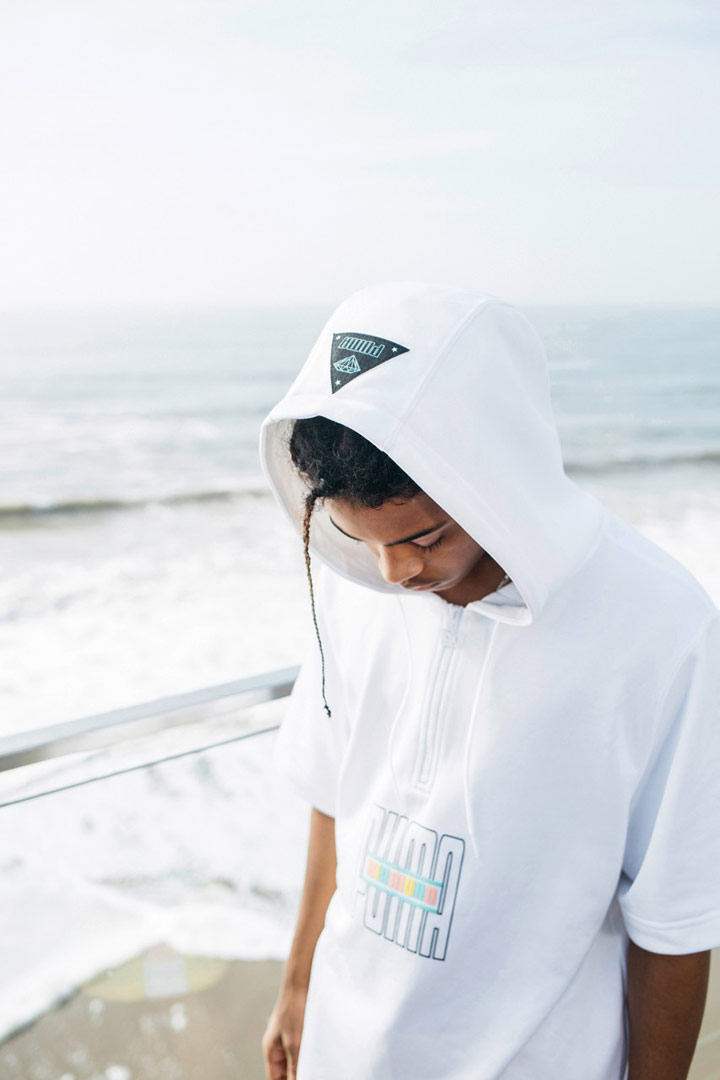 Diamond Supply x Puma — bílá mikna s kapucí s krátkými rukávy s potiskem — California Dreaming