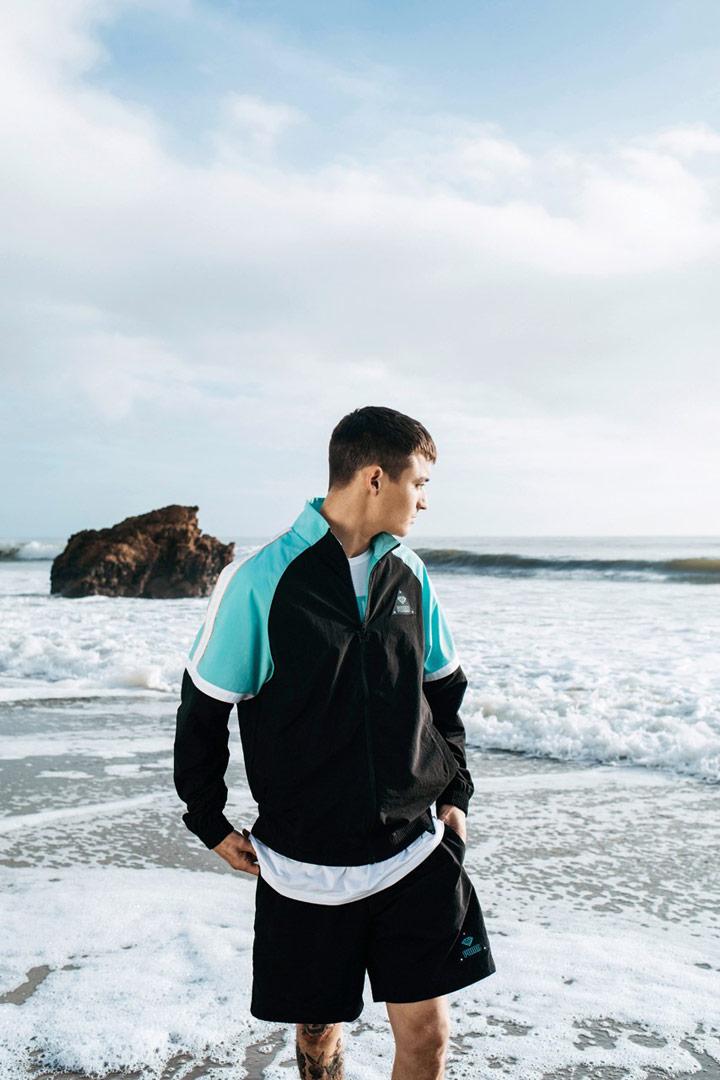 Diamond Supply x Puma — sportovní bunda do pasu — černé šortky — California Dreaming