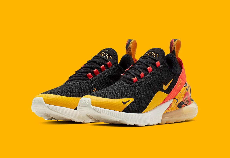 Nike Air Max 270 SE Floral — dámské boty s květinovýmí vzory — černé, žluté — sneakers