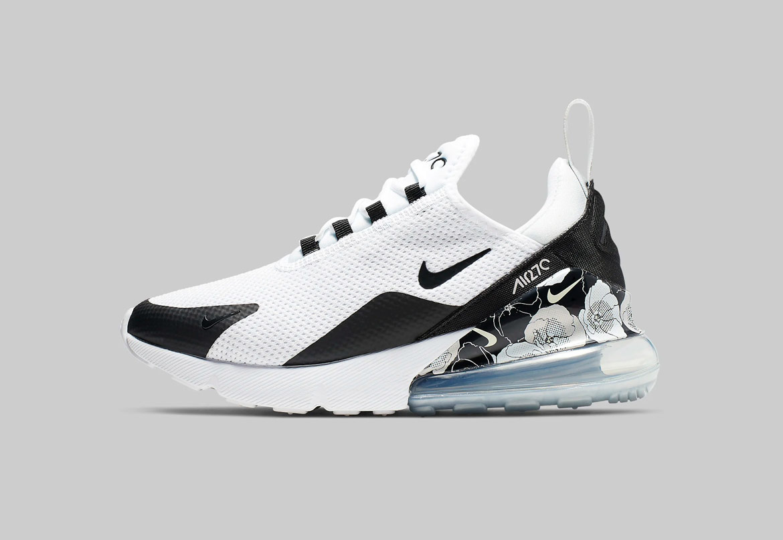Nike Air Max 270 SE Floral — dámské boty s květinovýmí vzory — černo-bílé — sneakers