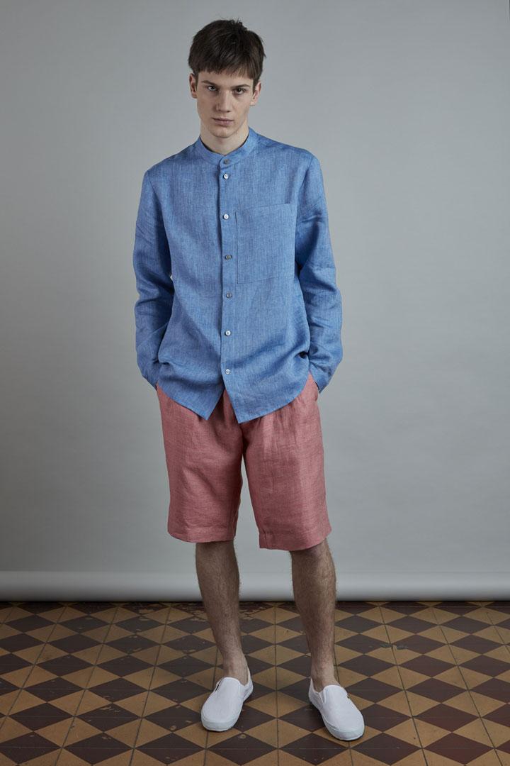 SISTERSCONSPIRACY — pánská modrá lněná košile s dlouhými rukávy — kolekce LEN