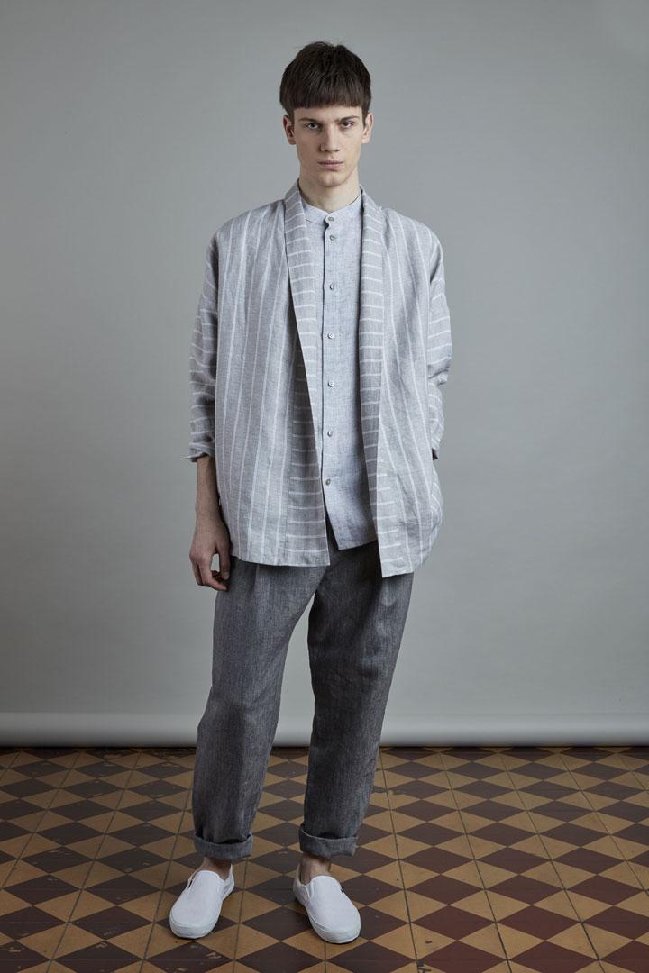 SISTERSCONSPIRACY — šedý pánský lněný kabátek — pánské tmavě šedé lněné kalhoty — kolekce LEN