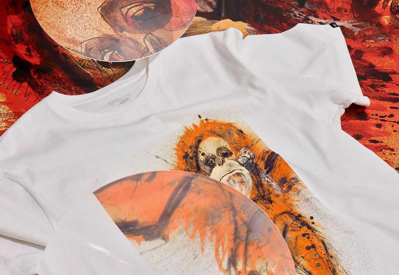 Vans x Ralph Steadman — bílé tričko s potiskem — s ilustrací orangutana