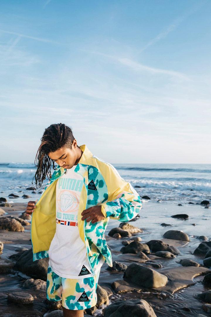Diamond Supply x Puma — zeleno-žluté šortky — zeleno-žlutá sportovní bunda se vzorem — tričko s potiskem — California Dreaming