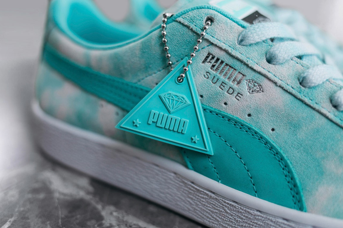 Diamond Supply x Puma — modro zelené boty Puma Suede — detail — California Dreaming