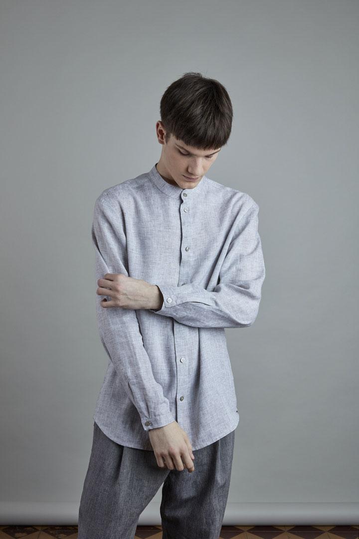 SISTERSCONSPIRACY — pánská šedá lněná košile s dlouhými rukávy — kolekce LEN