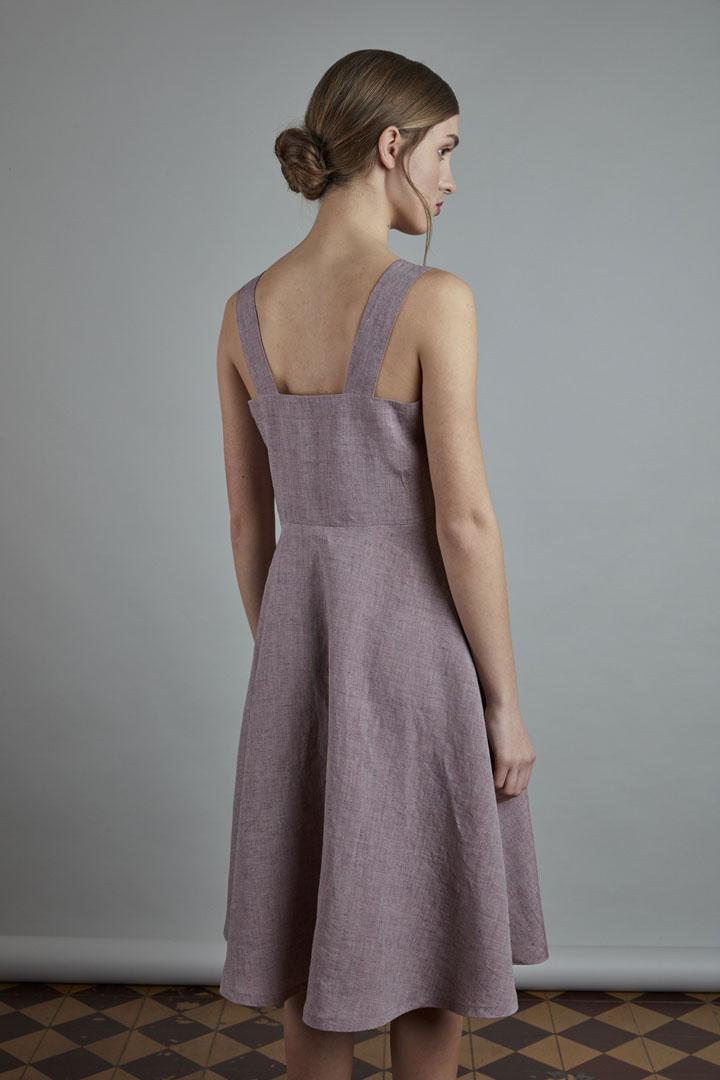 SISTERSCONSPIRACY — lněné letní šaty s ramínky — světle fialové — kolekce LEN