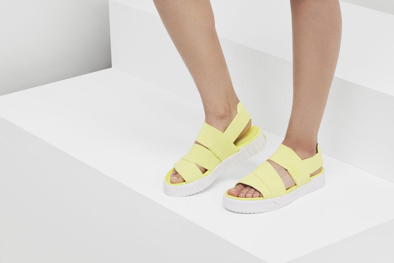 Puma Cali Sandal x Selena Gomez — sándály na platformě — dámské sandálky — žluté