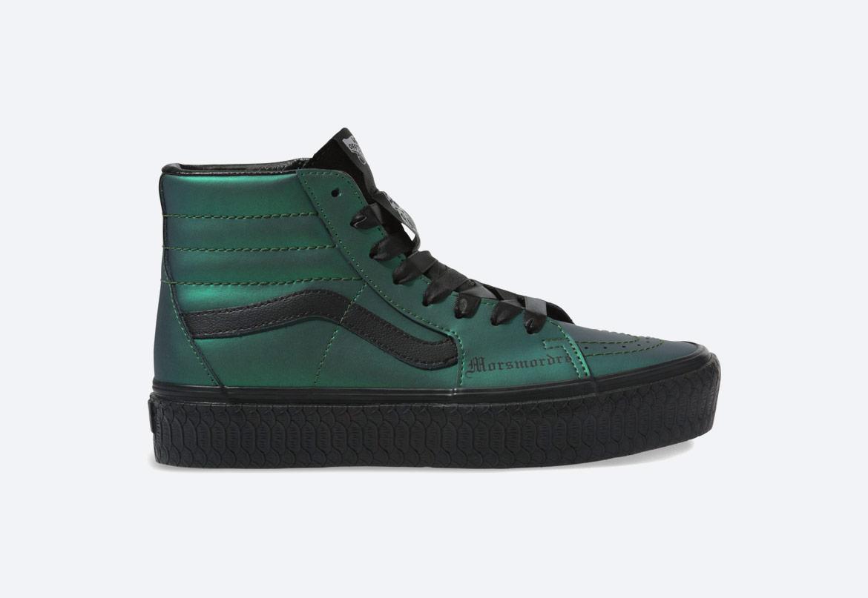 Vans x Harry Potter™ Sk8-Hi Platform RB Dark Arts — kotníkové boty — metalické, zelené — pánské, dámské, chlapecké a dívčí
