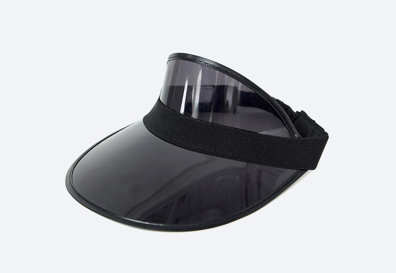 Průhledný letní kšilt proti slunci — černý — SVNX Clear Plastic Black Visor