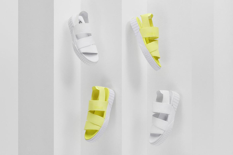 Puma Cali Sandal x Selena Gomez — sándály na platformě — dámské — bílé, žluté