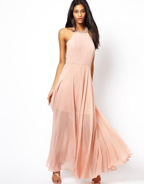 Šaty Asos – dlouhé, lososové