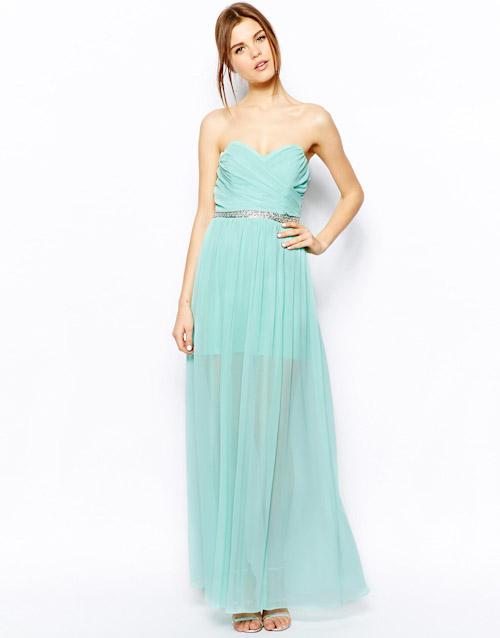 Šaty Asos – dlouhé, světle zelené