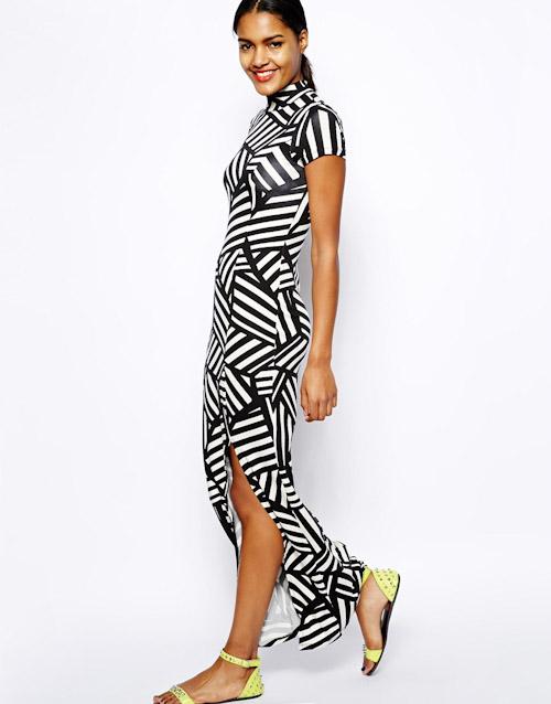 Šaty Asos – dlouhé, černo-bílé, vzorované