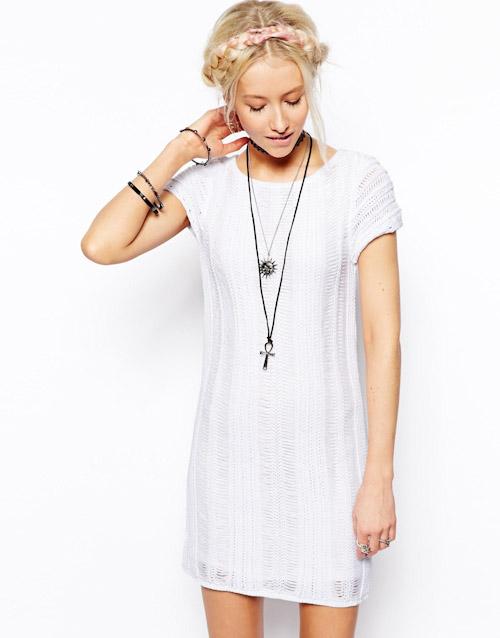 Šaty Asos – krajkové, bílé