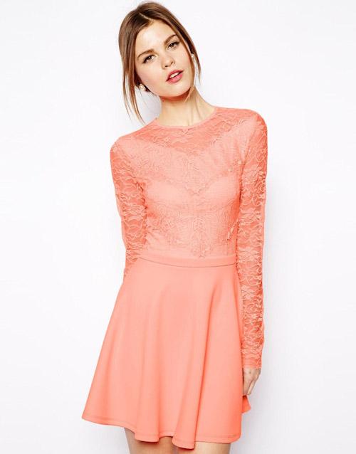 Šaty Asos – krajkové, lososová barva