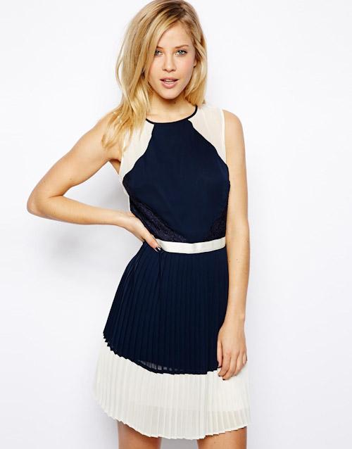 Šaty Asos – krajkové, modré, bílé