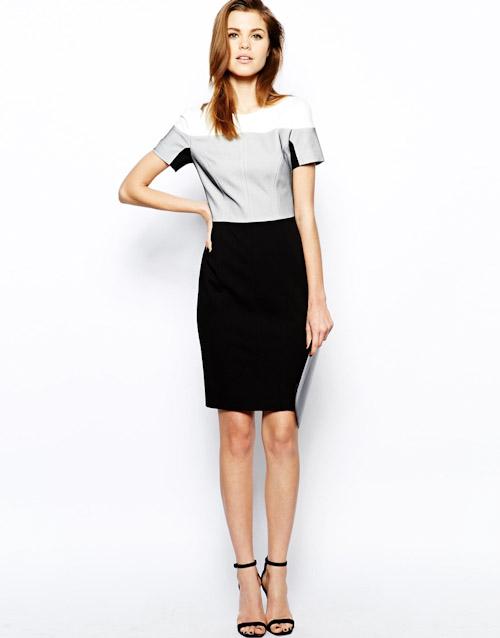 Šaty Asos – pouzdrové, černé, šedé