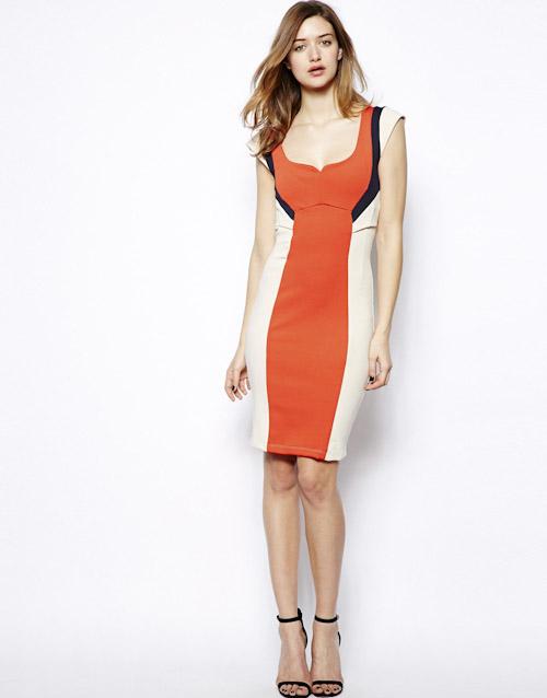 Šaty Asos – pouzdrové, oranžové, bílé