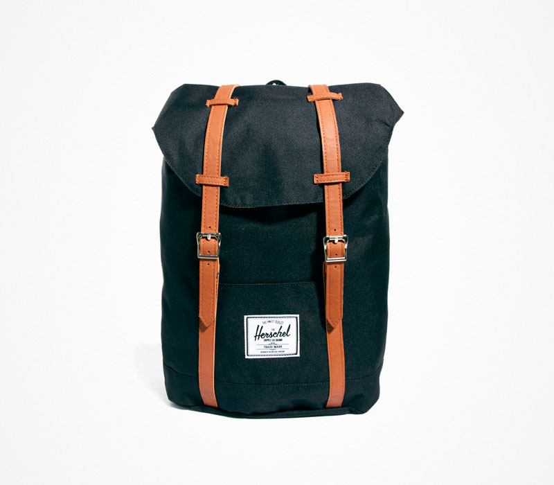 Plátěný batoh – Herschel Supply – černý, stylový ruksak na záda