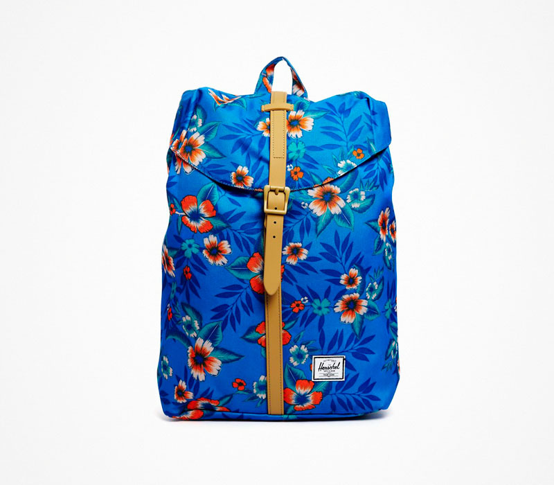 Plátěný batoh – Herschel Supply – modrý, květinový zor, stylový ruksak na záda