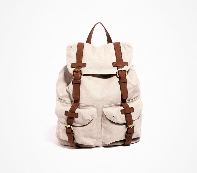Plátěný batoh – Asos – béžový ruksak, na záda