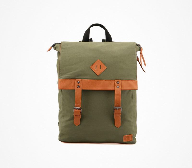Plátěný batoh – Oill – zelený ruksak na záda, olivový