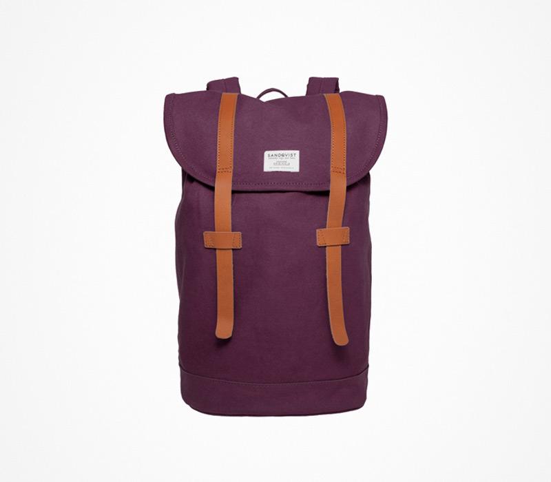 Plátěný batoh – Sandqvist – fialový, ruksak na záda