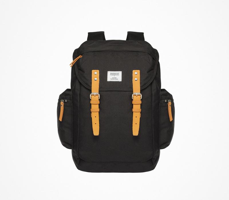 Plátěný batoh – Sandqvist – černý, ruksak na záda