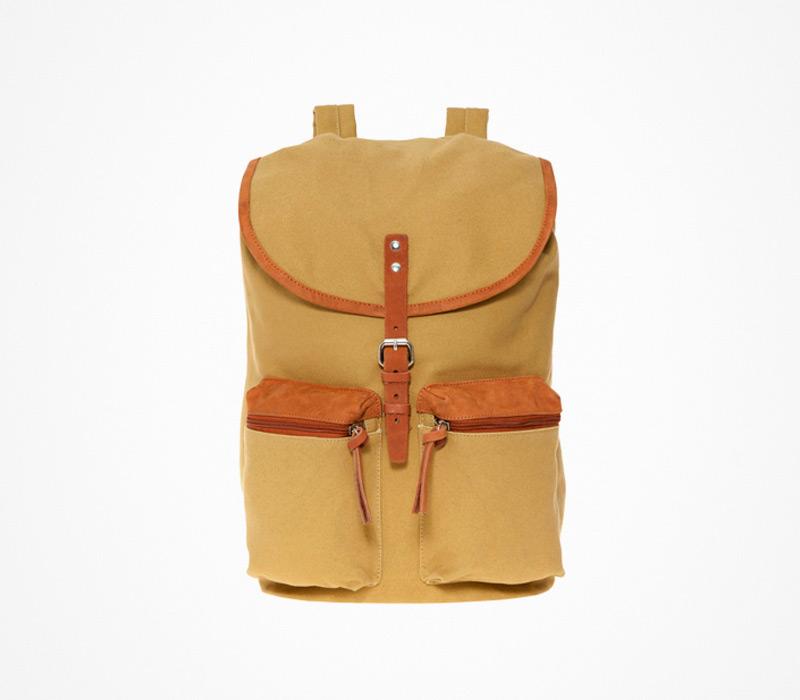 Plátěný batoh – Sandqvist – hnědý, žlutý, ruksak na záda