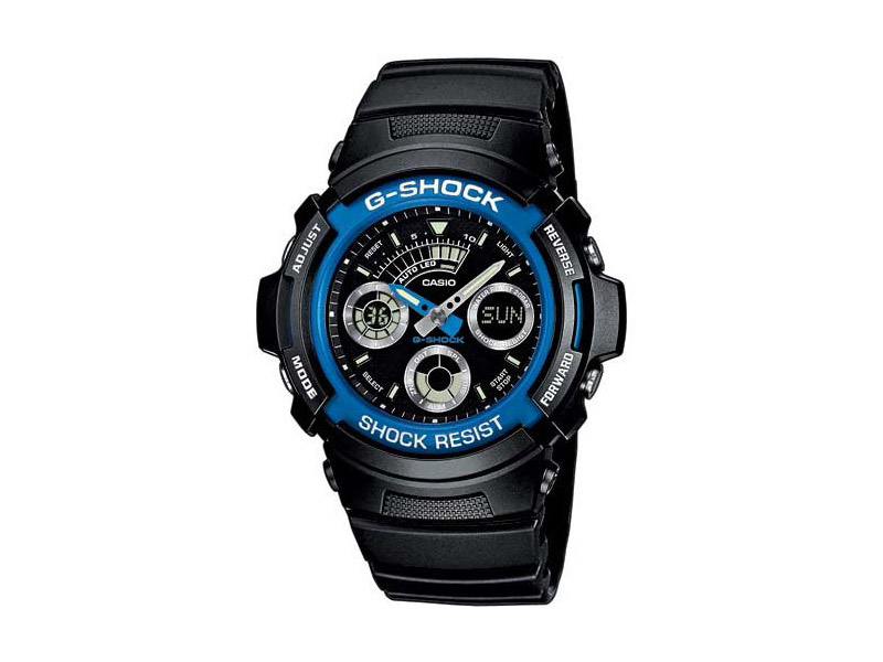 Hodinky Casio G-shock AW-591-2aer – černé modry ciferník pánské, dámské