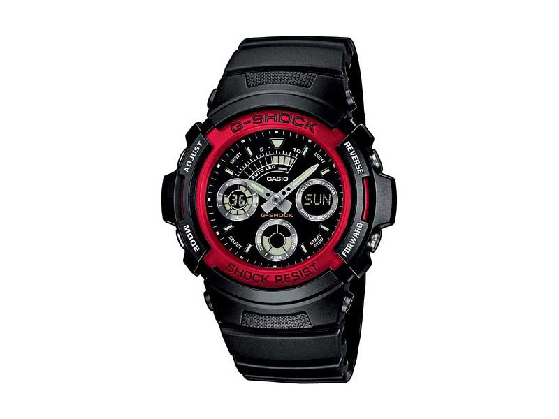 Hodinky Casio G-shock AW-591-4aer – černé červený ciferník pánské, dámské