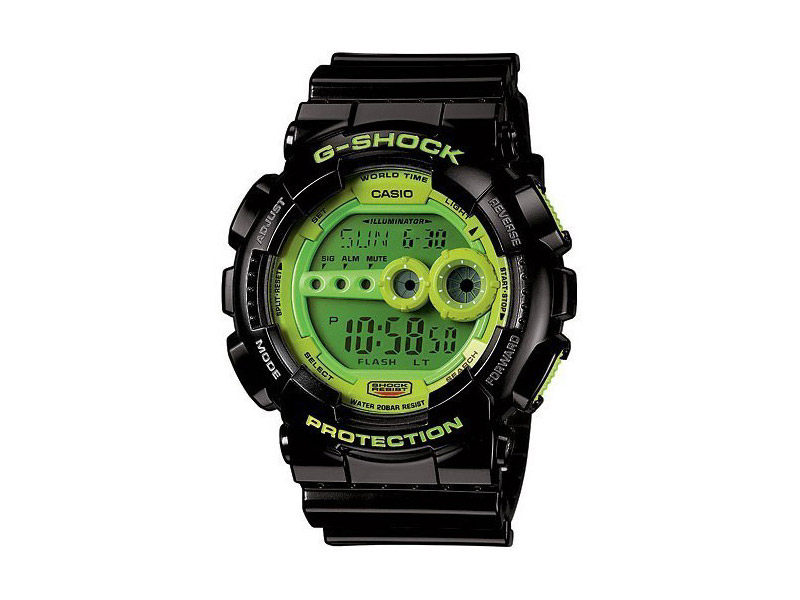Hodinky Casio G-Shock GD-100SC-1ER – černé, zelený displej – pánské, dámské