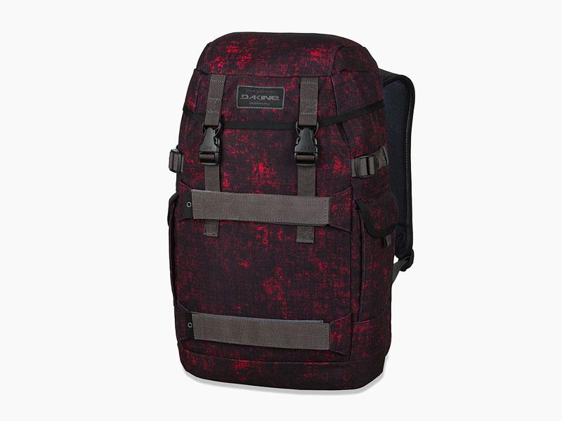 Dakine – studentský, školní a skate batoh na záda, červený, černý, vzorovaný | Burnside 24 l – Lava