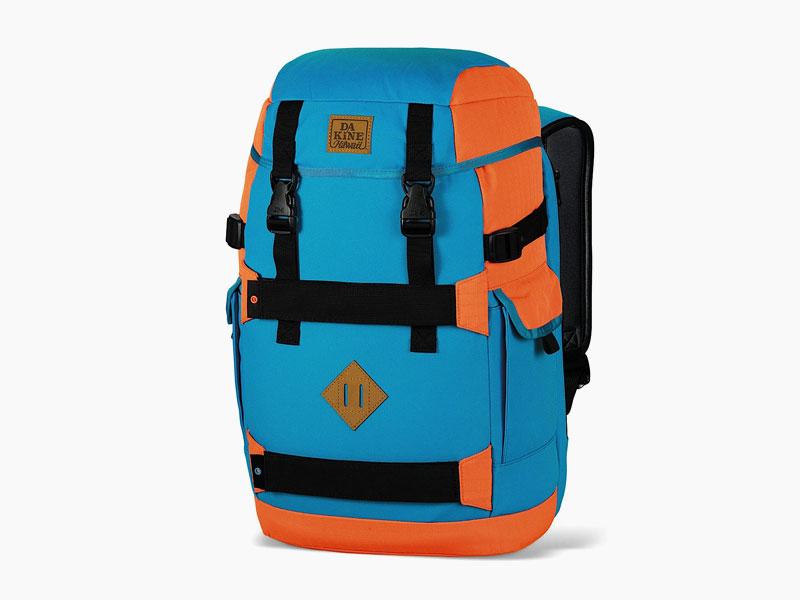 Dakine – studentský, školní a skate batoh na záda, modrý, oranžový | Burnside 24 l – Offshore