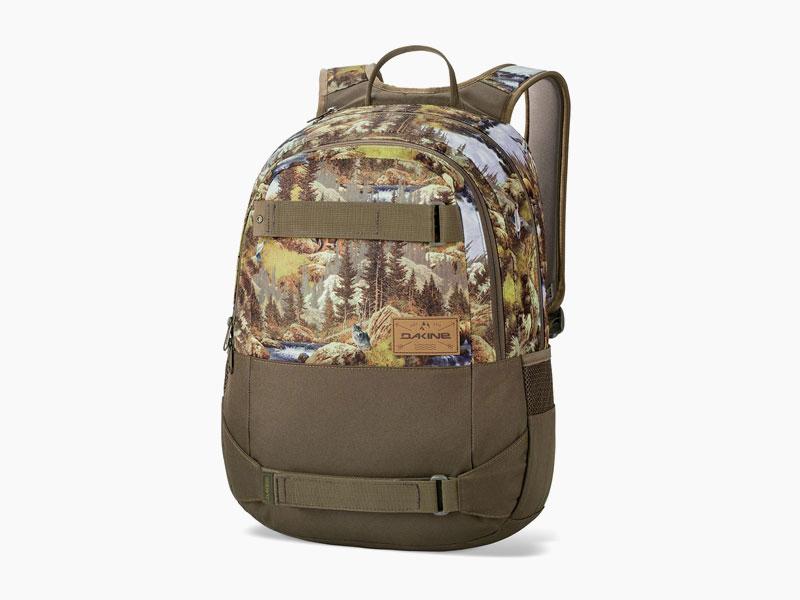 Dakine – studentský, školní a skate batoh na záda, khaki s motivem krajiny | Option 27 l – Paradise