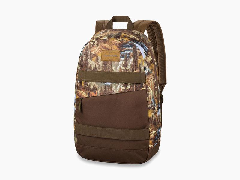 Dakine – studentský, školní a skate batoh na záda, hnědý s motivem krajiny | Manual – 20 l – Paradise