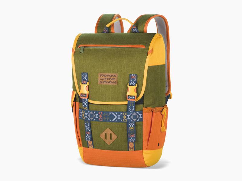 Dakine – studentský, školní a skate batoh na záda, zeleno-oranžový | Ledge 25 l – Fjord