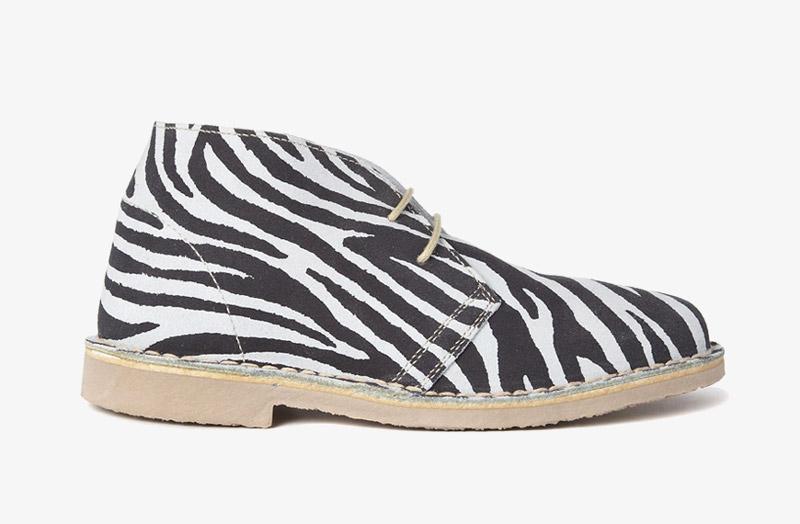 Desert Boots, dámské pouštní kotníkové boty – kožené, zebrované