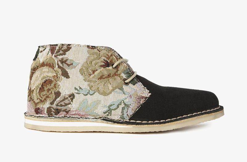 Desert Boots, dámské pouštní kotníkové boty – kožené, černé, květinové