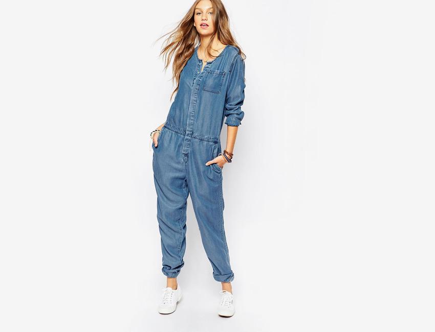 Džínový overal — dámský riflový overal na knoflíky, dlouhý rukáv — modrý, denim, jeans jumpsuit